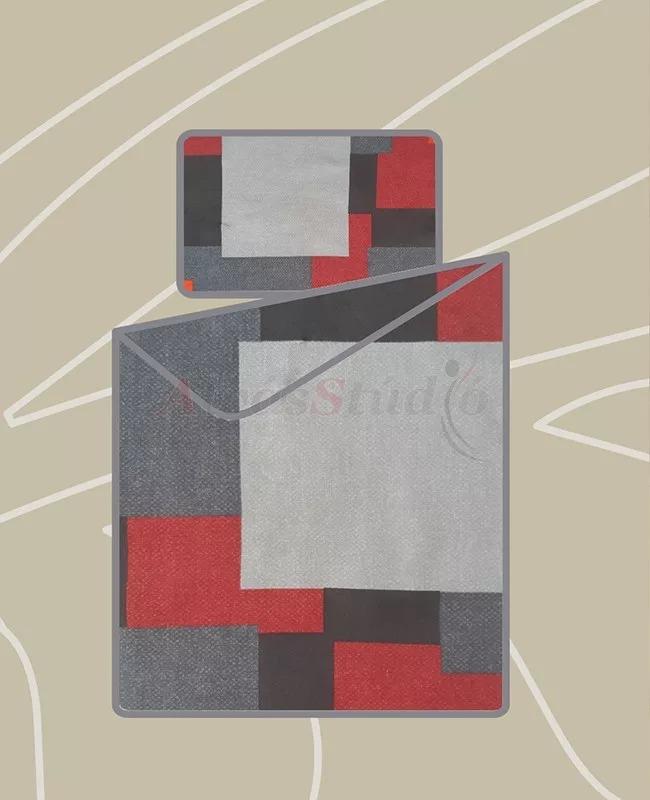 Billerbeck Bianka 3 részes pamut-szatén ágynemű kockás 140x200 cm - 70x90 cm - 36x48 cm