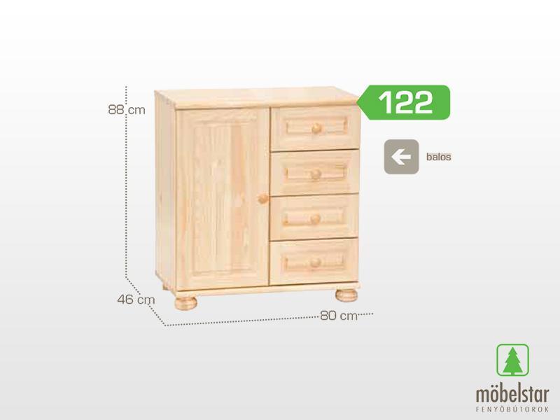 Möbelstar 122 - 1 ajtós 4 fiókos komód 88x46x80 cm (balos)