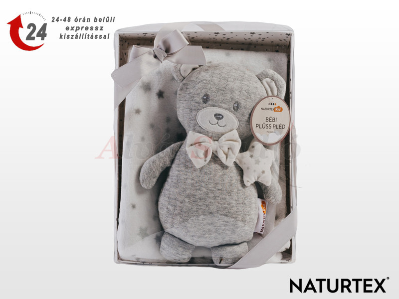 Naturtex Baby Design szürke macis plüss pléddel 100x75 cm