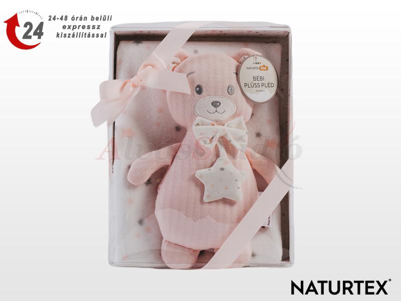 Naturtex Baby Design rózsaszín macis plüss pléddel 100x75 cm
