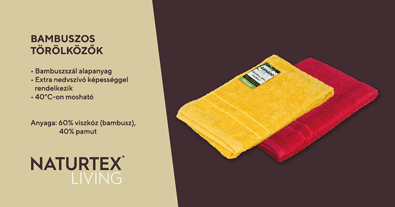 Naturtex Bambuszos törölköző Mustár sárga 70x140 cm