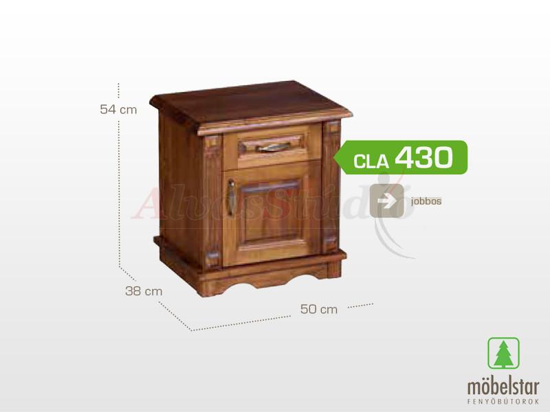 Möbelstar CLA 430 - 1 ajtós 1 fiókos pácolt éjjeliszekrény 54x38x50 cm (jobbos)