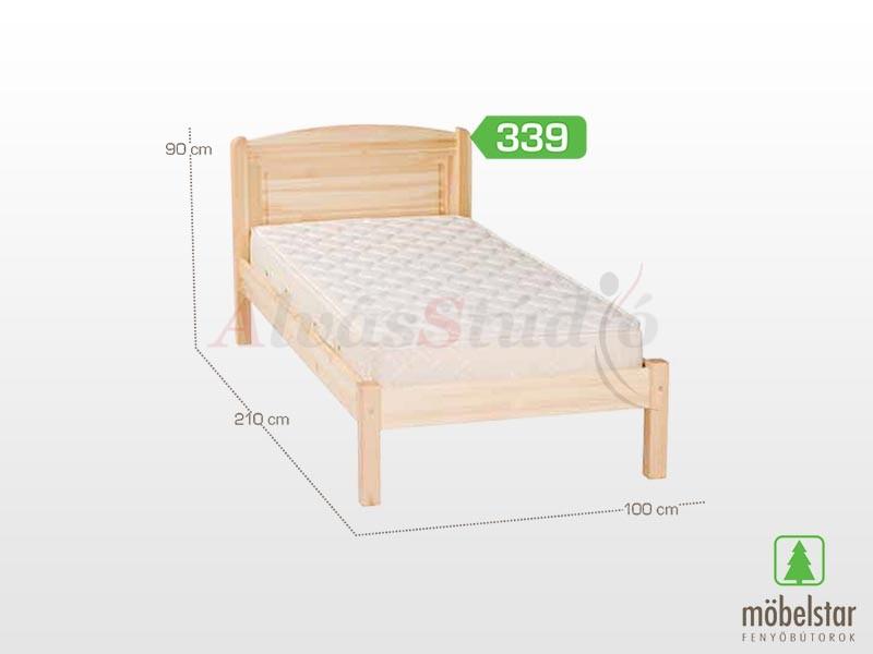 Möbelstar  339 - fenyő ágykeret (natúr) 90x200 cm