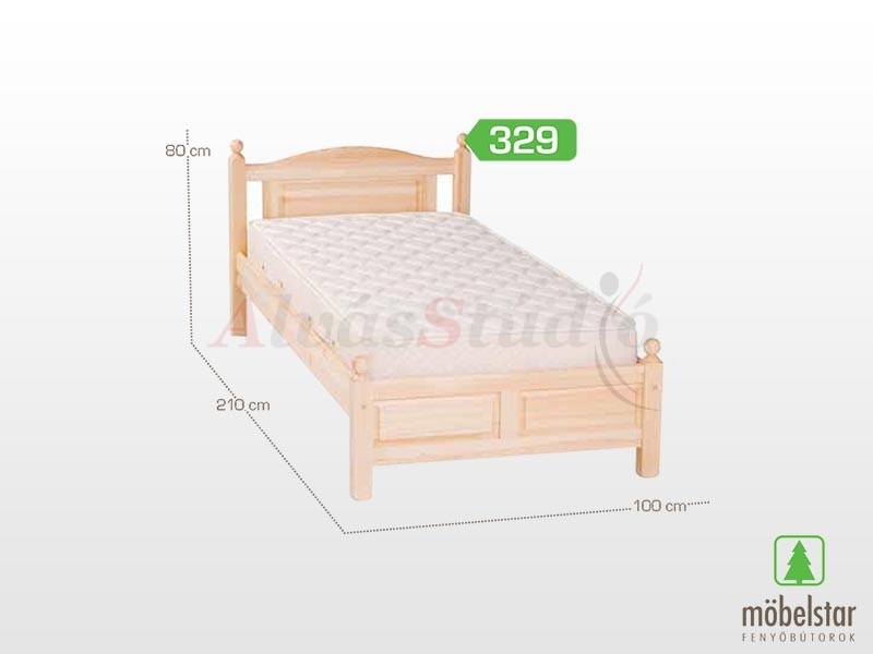Möbelstar  329 - fenyő ágykeret (natúr) 90x200 cm