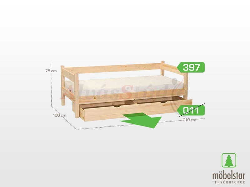 Möbelstar 397 3 oldalt támlás gyerekágy keret 90x200 cm