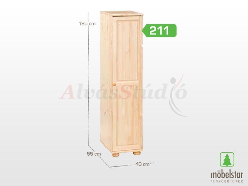 Möbelstar 211 - 1 ajtós szekrény (akasztós) 185x55 cm