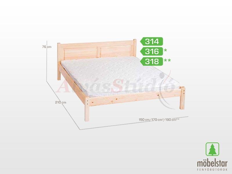 Möbelstar 318 - fenyő ágykeret (natúr) 180x200 cm