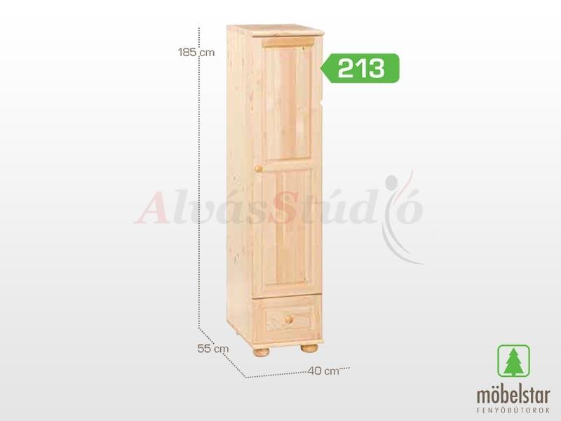 Möbelstar 213 - 1 ajtós 1 fiókos szekrény (akasztós) 185x55 cm