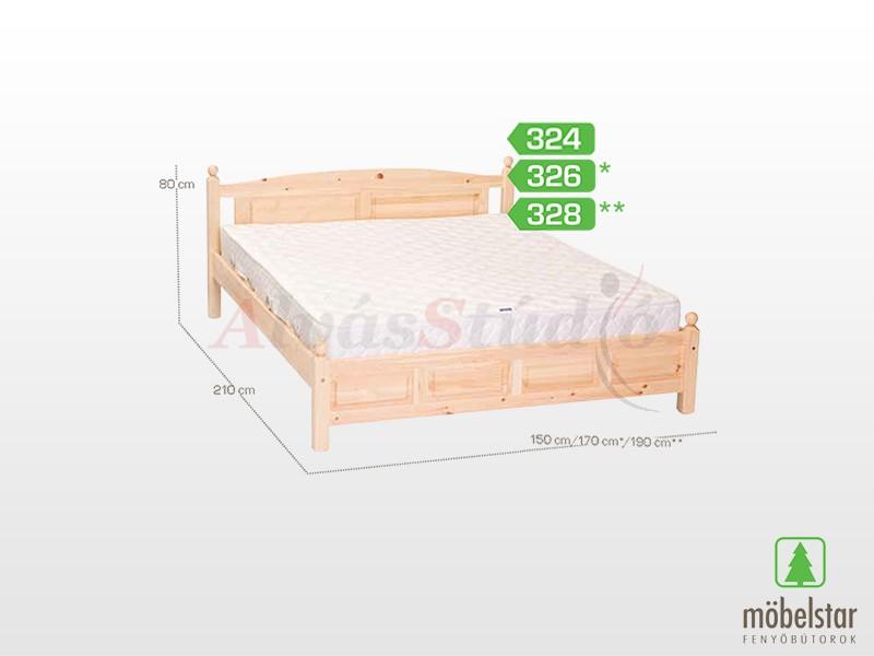 Möbelstar 326 - fenyő ágykeret (natúr) 160x200 cm