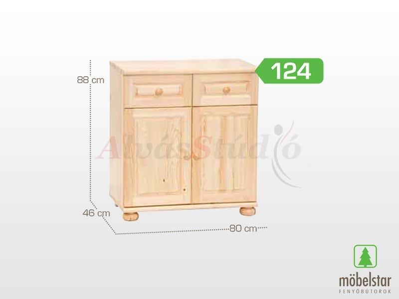 Möbelstar 124 - 2 ajtós 2 fiókos komód 88x46 cm