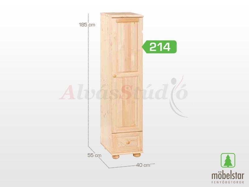 Möbelstar 214 - 1 ajtós 1 fiókos szekrény (polcos) 185x55 cm