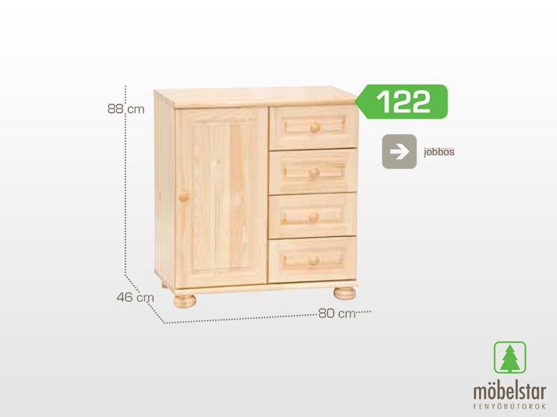 Möbelstar 122 - 1 ajtós 4 fiókos komód 88x46x80 cm (jobbos)