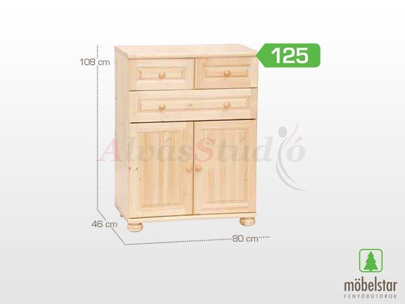 Möbelstar 125 - 2 ajtós 3 fiókos komód 108x46 cm