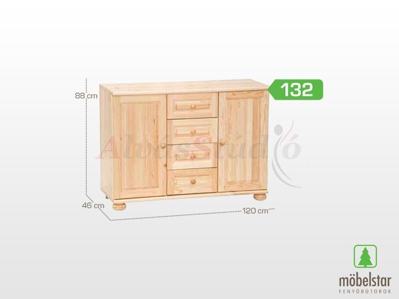 Möbelstar 132 - 2 ajtós 4 fiókos komód 88x46 cm