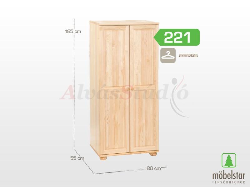 Möbelstar 221 - 2 ajtós szekrény, akasztós 185x55x80 cm