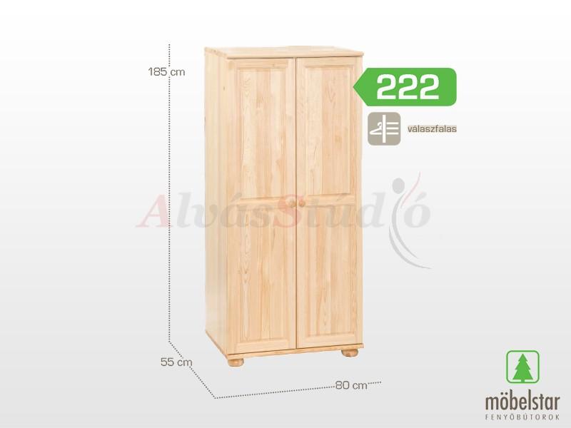 Möbelstar 222 - 2 ajtós szekrény, válaszfalas 185x55x80 cm