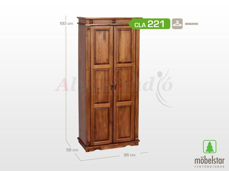 Möbelstar CLA 221 - 2 ajtós pácolt szekrény 193x58x98 cm