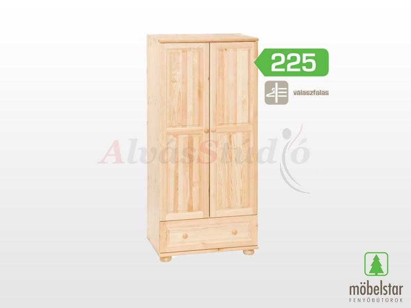 Möbelstar 225 - 2 ajtós 1 fiókos szekrény, válaszfalas 185x55x80 cm