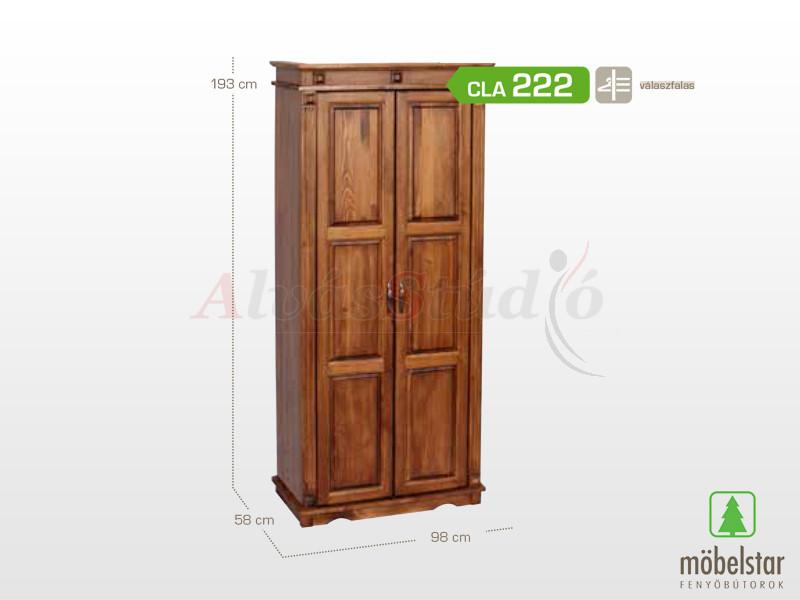 Möbelstar CLA 222 - 2 ajtós pácolt szekrény, válaszfalas 193x58x98 cm