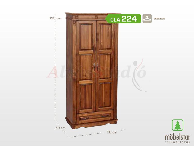 Möbelstar CLA 224 - 2 ajtós 1 fiókos pácolt szekrény 193x58x98 cm