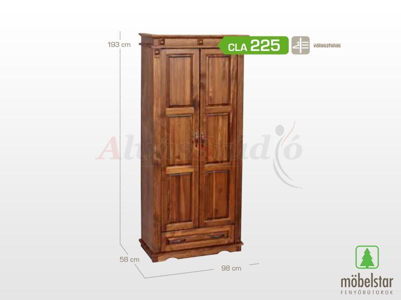 Möbelstar CLA 225 - 2 ajtós 1 fiókos pácolt szekrény, válaszfalas 195x55 cm