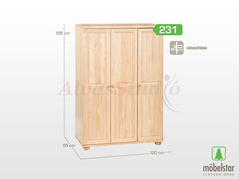 Möbelstar 231 - 3 ajtós szekrény 185x55x120 cm