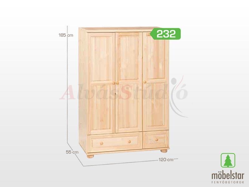 Möbelstar 232 - 3 ajtós 2 fiókos szekrény 195x55 cm