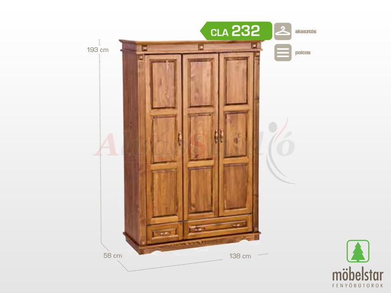 Möbelstar CLA 232 - 3 ajtós 2 fiókos pácolt szekrény, válaszfalas 195x55 cm