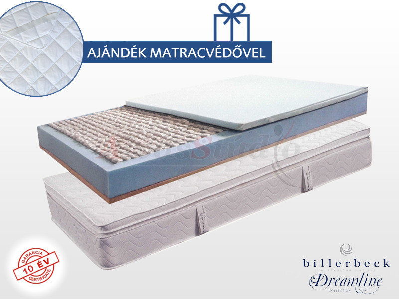 Billerbeck Monaco zsákrugós matrac 180x200 cm kókusz-latex topperrel