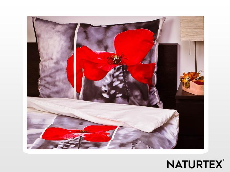 Naturtex 3 részes pamut-szatén ágyneműhuzat Poppy pipacs 140x200 cm - 70x90 cm - 40x50 cm