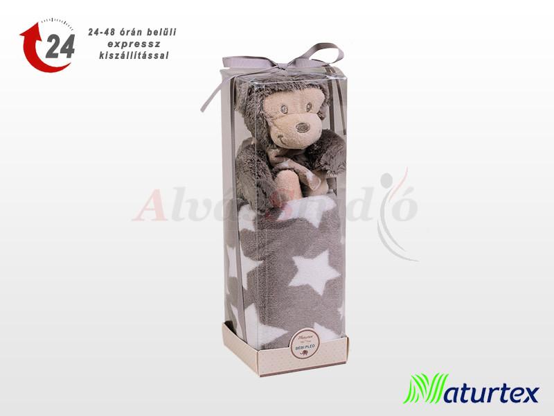 Naturtex Baby Design szürke majmos plüss pléddel 100x75 cm