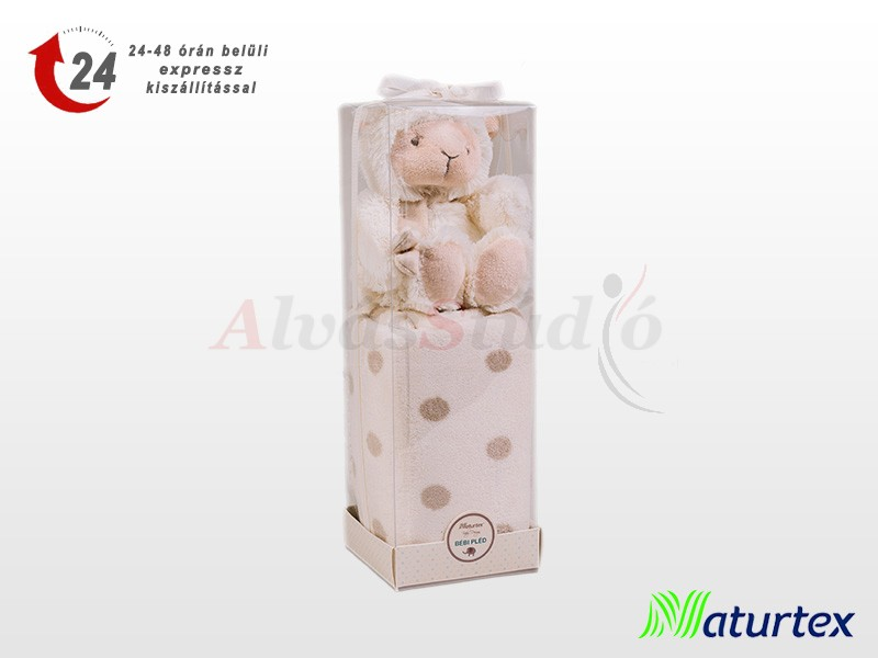 Naturtex Baby Design bézs bárányos plüss pléddel 100x75 cm
