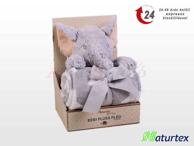Naturtex Baby Design Dumbó dobozban plüss pléddel 100x75 cm