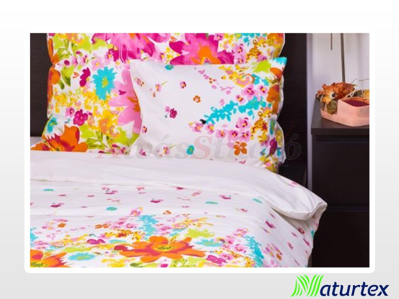 Naturtex 5 részes pamut-szatén ágyneműgarnitúra Bloom virágos 200x220 cm - 2db 70x90 cm - 2 db 40x50 cm