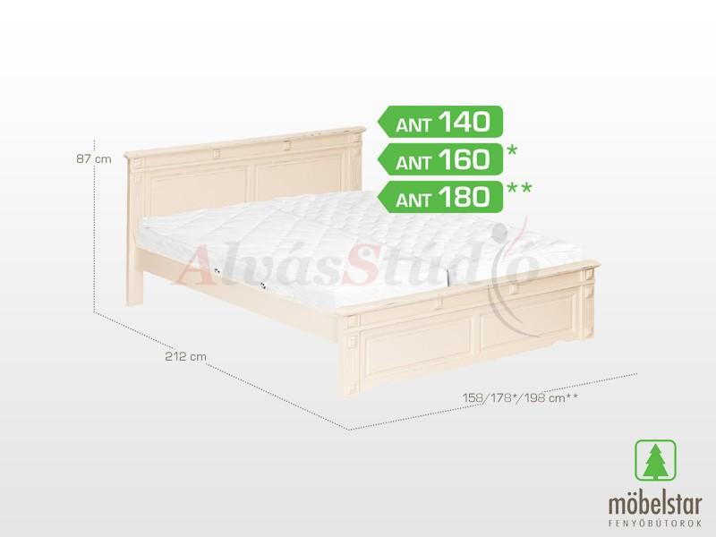 Möbelstar ANT 140 - fenyő ágykeret (antik festett) 140x200 cm