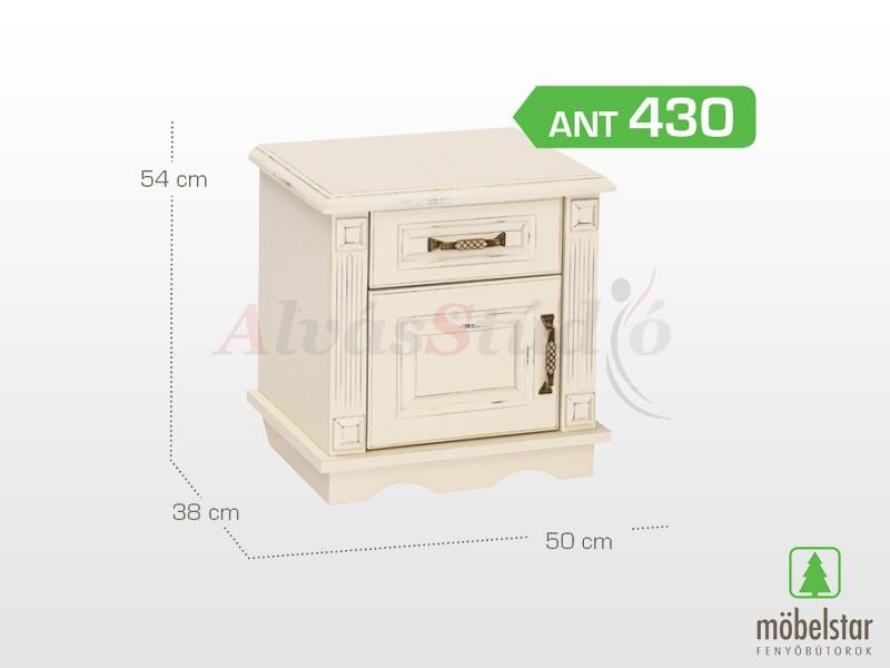 Möbelstar ANT 430 - 1 ajtós 1 fiókos antik festett éjjeliszekrény 54x38 cm