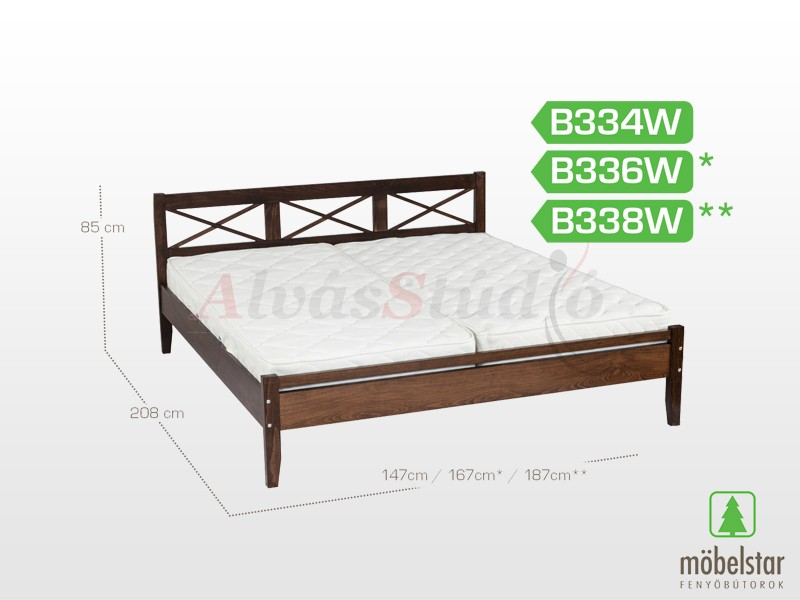 Möbelstar B338W - bükk ágykeret (pácolt) 160x200 cm