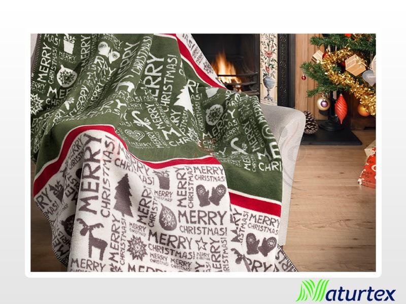 Naturtex Pamut-akril Merry Christmas mintás pléd 150x200 cm